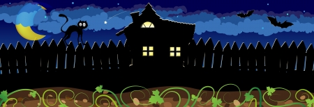 stray: House with glowing windows and stray cat on the fence. Halloween night scene