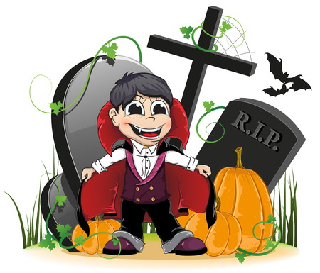 Vampire and  ripe pumpkins on the old cemetery. Isolated on white background Vector
