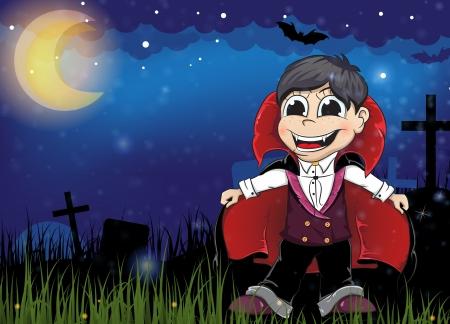 Young vampire on a night cemetery. Halloween night scene Vector
