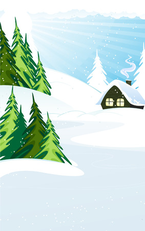 House with roof covered in snow in a pine forest. Winter landscape.