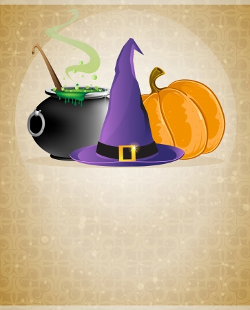 Witch hat, boiling cauldron and pumpkin on a beige background with retro patterns