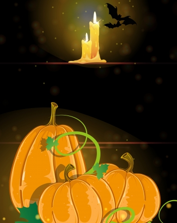 Pumpkins with sprouts and leaves and burning candles on a dark background Vector