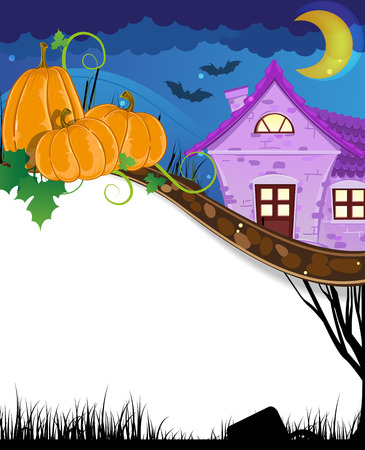 Halloween pumpkins with sprouts and leaves near the brick house. Halloween background  with place for text Vector