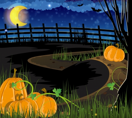 Pumpkins with sprouts and leaves. Halloween night scene Illustration