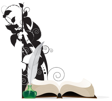 prose: Open hardcover book and floral silhouettes on a white background.