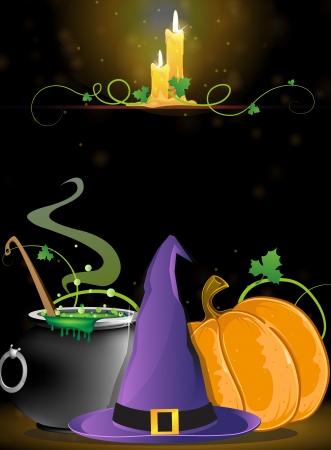魔女の帽子、沸騰釜、カボチャと、暗い背景に非常に熱い蝋燭  イラスト・ベクター素材