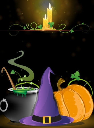 Witch hat, boiling cauldron, pumpkin and burning candles on a dark background Иллюстрация