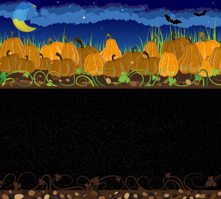 Pile of pumpkins. Halloween night background Vector
