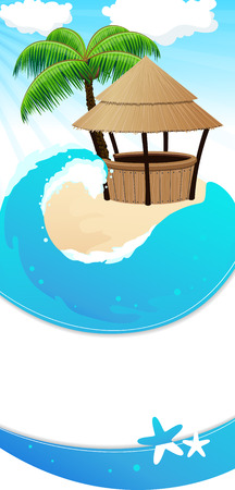 방갈로: 야자수와 방갈로 바 열 대 모래 섬입니다. 추상 리조트 배경