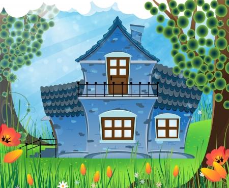 緑の牧草地にタイル張りの屋根の家。日当たりの良い夏の風景