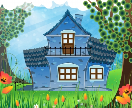 House with tiled roof on a green meadow. Summer sunny landscape