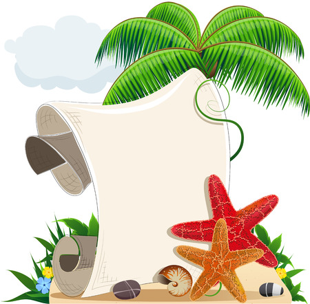 Sandy island with palm trees, starfishes and blank scroll for text  Illustration