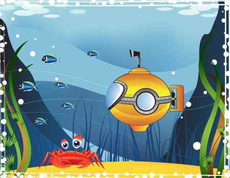 cartoon submarine: Yellow submarine and marine inhabitants under water