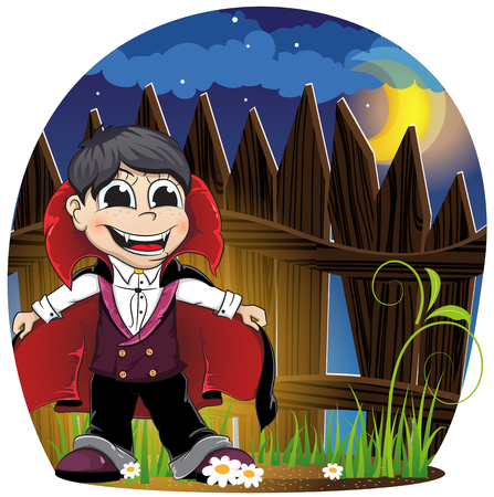 Boy dressed as a vampire near wooden fence.  Night Halloween Scene Vector