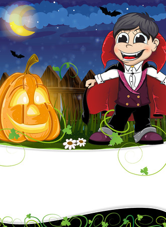Boy dressed as a vampire and  funny pumpkin head with leaves and sprouts. Abstract Halloween background Vector