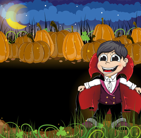 Boy dressed as a vampire and  pumpkins with leaves and sprouts. Abstract Halloween background Vector