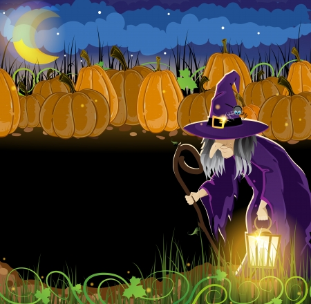 Wicked witch with a lantern and  pumpkins with leaves and sprouts. Abstract Halloween background Vector
