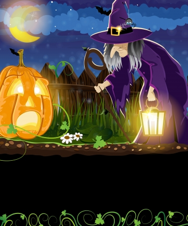 Wicked witch with  lantern and Jack o Lantern with sprouts and leaves near the fence. Halloween night scene Vector