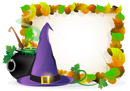 bewitchment: Witch hat and  boiling cauldron on a background of autumn leaves. Halloween Greeting Card Illustration