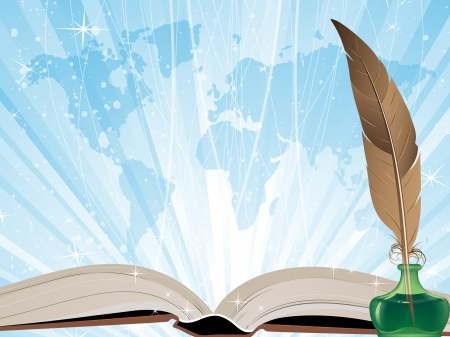 Open book, feather and  map on a blue shining background Vector