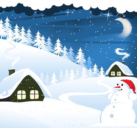coberto de neve: Casas e boneco de neve em uma neve cobriu a floresta de pinheiros. Paisagem de inverno