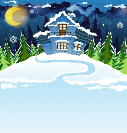 Fairy house with blue tiles in a pine forest. Winter night landscape.