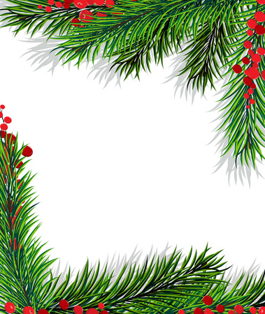 Christmas frame with holly berry and fir branches on white background