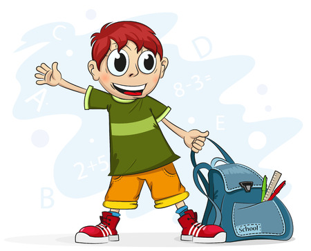 Smiling schoolboy with a backpack in his hand on a white background Vector