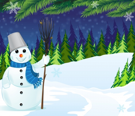Snowman with a broom and bucket in a  pine forest. Winter night scene Vector