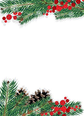 スプルースの枝にコーンと白い背景の赤い果実  イラスト・ベクター素材