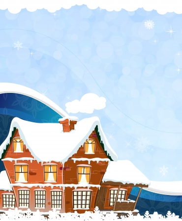 Brick cottage with snow-covered roof on a blue winter background Vector