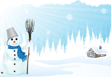 Brick hut and snowman with a broom in a pine forest .  Vector
