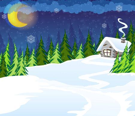 coniferous forest: Casa en el bosque de con�feras de invierno. Escena de la noche de invierno Vectores