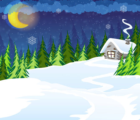 House in the winter coniferous forest. Winter Night Scene