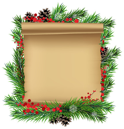 christmas frame: Christmas wreath with old parchment and red berries on a white background