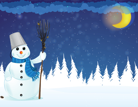 Snowman with a broom in a  pine forest. Winter night scene Vector