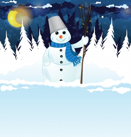Snowman with a broom in the snowy woods. Winter Night Scene Vector