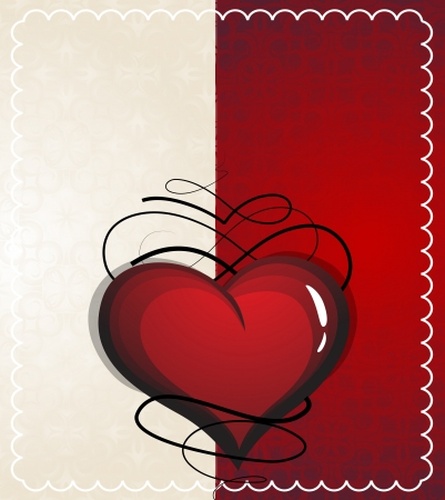 voluptuous: Vintage Valentine heart on a red and beige background