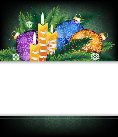 Purple, blue and orange Christmas balls, candles and pine branches. Christmas background with place for text  Vector