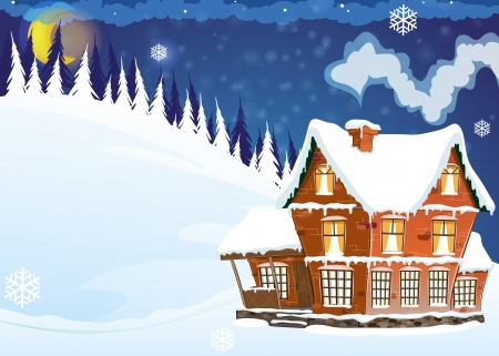 Three-storey mansion with a snow-covered roof in a pine forest. Winter night landscape.