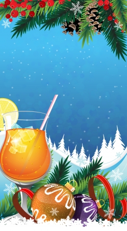 Orange cocktail with lemon and ice cubes and Christmas decorations on a winter background Vector