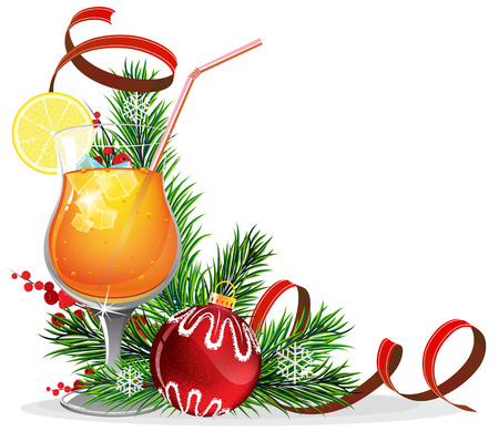 glass christmas tree ornament: Orange cocktail with lemon and ice cubes and Christmas decorations on white background
