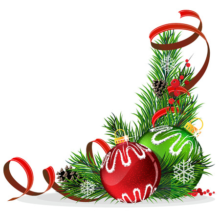 Christmas baubles with ribbon and fir tree branches on white background