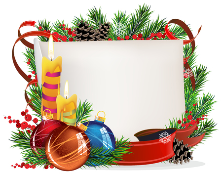Christmas wreath with baubles,  parchment and candles on a white background Vector