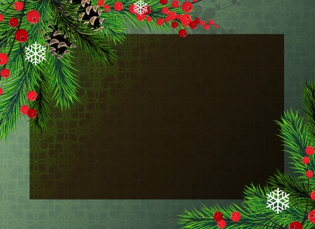 winterberry: Spruce branches with cones and Winterberry Holly on a green background Illustration