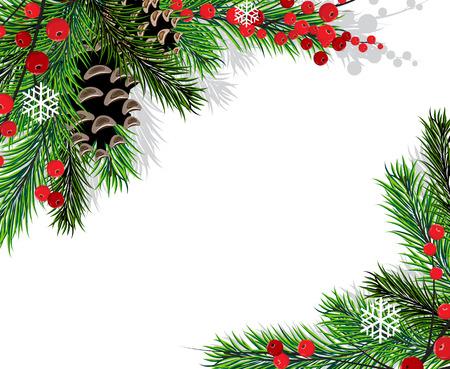 흰색 배경에 원추와 빨간 열매 가문비 나무 분기 스톡 콘텐츠 - 24123003