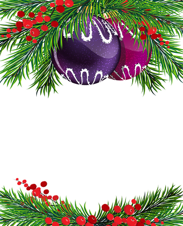 winterberry: Christmas baubles with fir tree branches and winterberry holly on white background