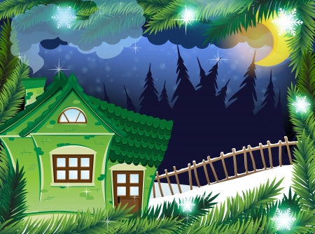 Small brick house in the winter forest.  Winter Night Scene Vector