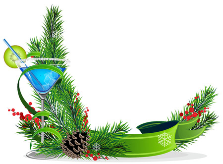 Blue cocktail with kiwi and ice cubes and spruce branches with  green ribbon Vector