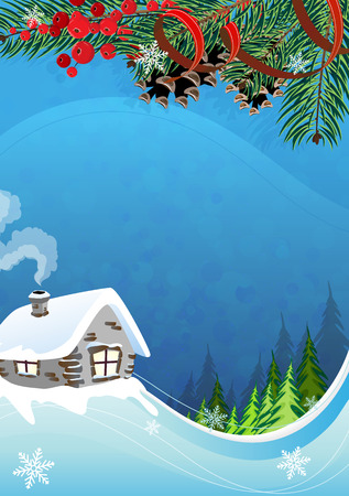 松の木や山の間での煙る煙突とれんが造りの小屋。 牧歌的な冬のシーン。